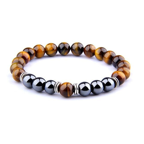 Polished Natural Tiger Eye & Hematite Beaded Bracelet