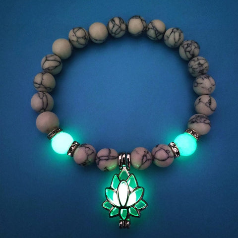 Luminous Lotus Flower Shaped Charm with Natural Healing Stones Bracelet - 7 Style Options