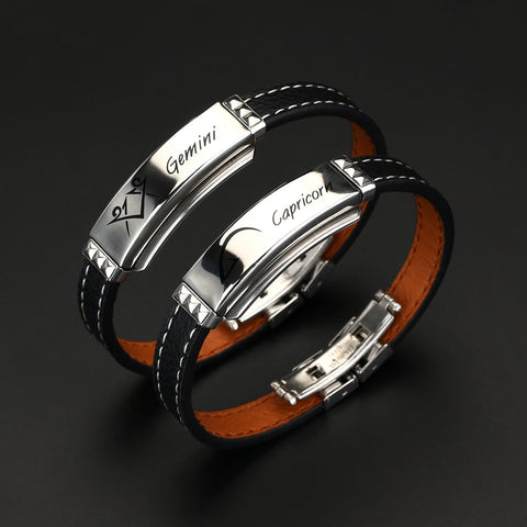 Black Leather & Stainless Steel 12 Constellations Bracelet