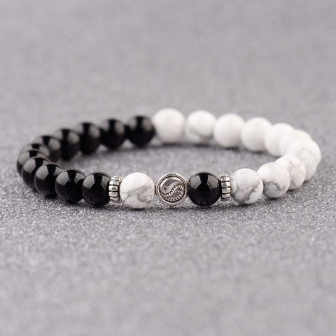 Black & White Tai Chi Beaded Balance Bracelet with Yin Yang Guru Bead