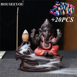 Ganesha Elephant God Backflow Incense Burner with 20 Piece Incense Pack
