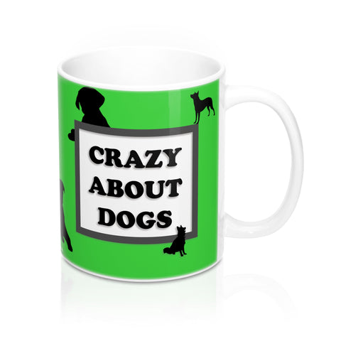 Crazy About Dogs Mug 11oz - Lime Green