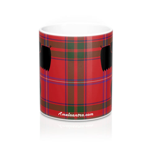 Mug 11oz - Scottish Terrier Motif on MacDougall Tartan background