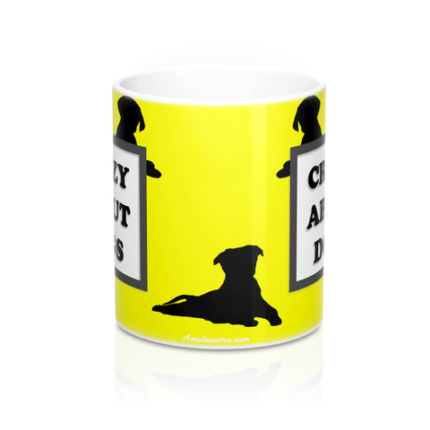 Crazy About Dogs Mug 11oz - Yellow