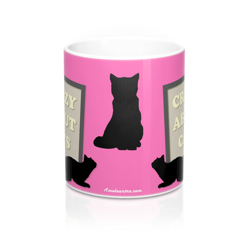 Mug 11oz - Crazy About Cats - Hot Pink