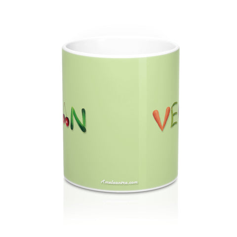 "Mug 11oz - ""VEGAN"" on a Light Green Background"