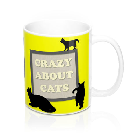 Mug 11oz - Crazy About Cats - Yellow