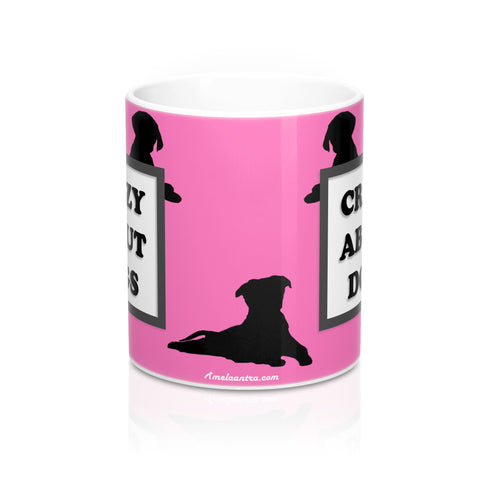 Mug 11oz - Crazy About Dogs - Hot Pink