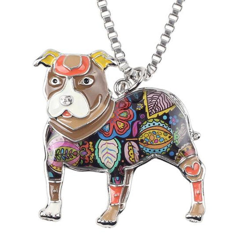 Enamel American Pit Bull Terrier Necklace And Chain