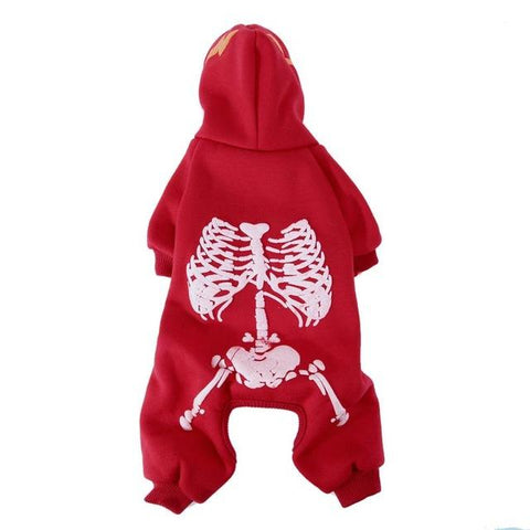 Glow at Night Halloween Dogs Suit With Skeleton Design