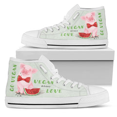 Vegan Means Love - Women's and Men's High Top Canvas Shoes