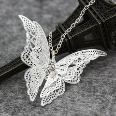 Romantic Vintage Silver Butterfly Necklace