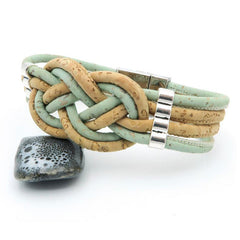 Braided Natural and Green Cork Bracelet