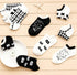 5 Pairs Black & White Cool Cat Short Socks - Wish Epic