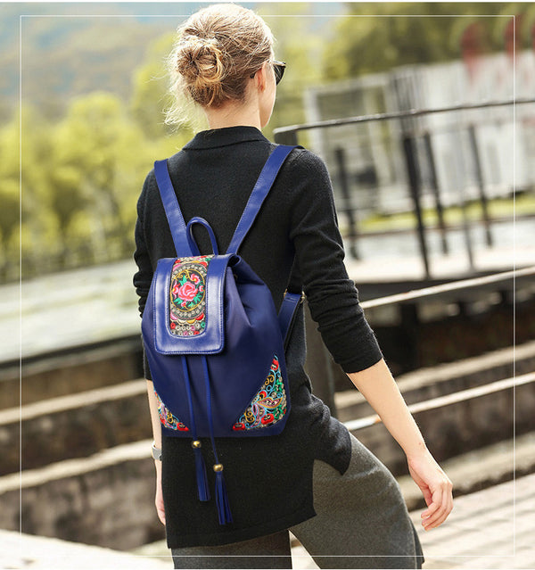 Flower Embroidery Women Backpack - Wish Epic