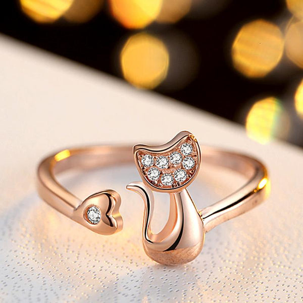 Glittery Cat Rhinestones Ring - Wish Epic