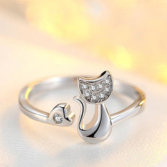 Glittery Cat Rhinestones Ring