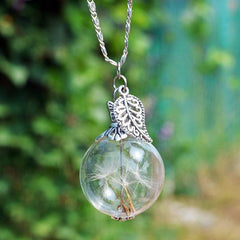 Dandelion Wish Glass Bottle Necklace