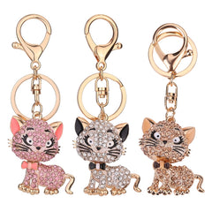 Lovely Cats Rhinestones Keychains