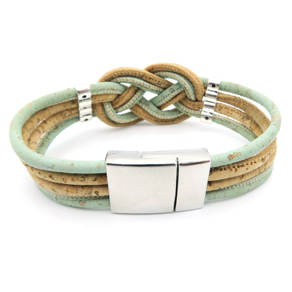 Braided Natural and Green Cork Bracelet - Wish Epic