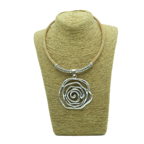 Silver Rose Cork Necklace - Wish Epic