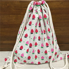 Red & Pink Strawberries Cotton Backpack
