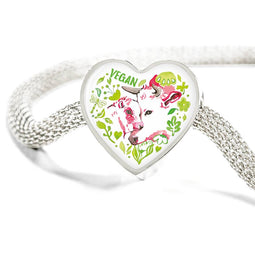 Vegan Heart Steel Bracelet