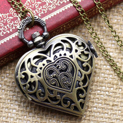 Heart-Shaped Necklace Pocket Watch