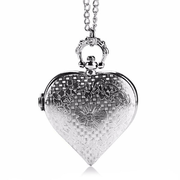 Heart-Shaped Necklace Pocket Watch - Wish Epic