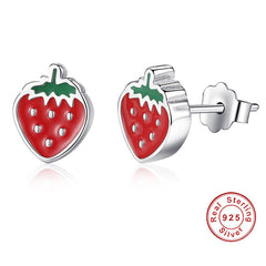 Summer Strawberry 925 Sterling Silver Earrings