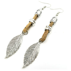 Antique Silver Leaves Cork Earrings