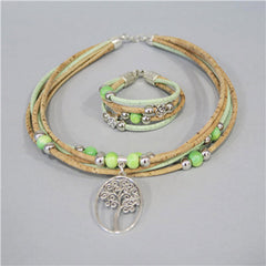 Delightful Tree Of Life Cork Jewelry Set