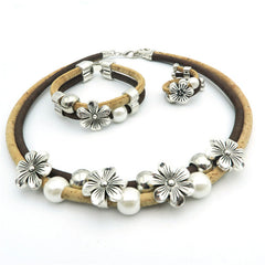 Flowers And Pearls Cork Jewelry Set