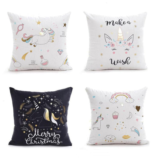 Make A Wish Soft Unicorn Pillow Cases (18 x 18 inch) - Wish Epic