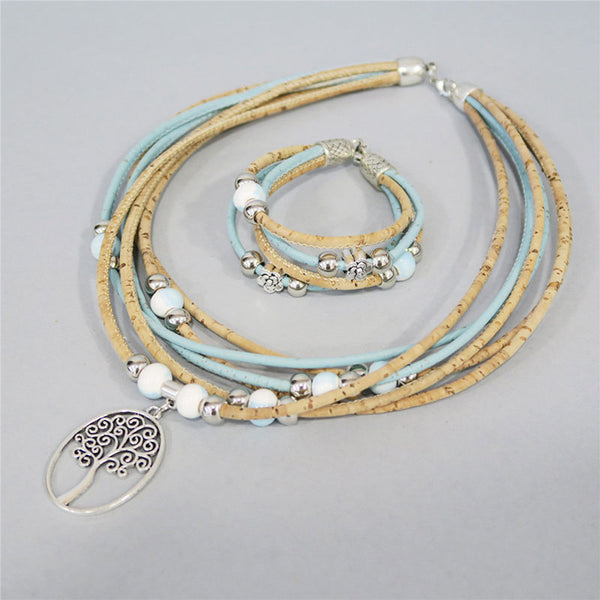 Delightful Tree Of Life Cork Jewelry Set - Wish Epic