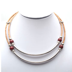 Silver Tube With Beads Cork Necklace