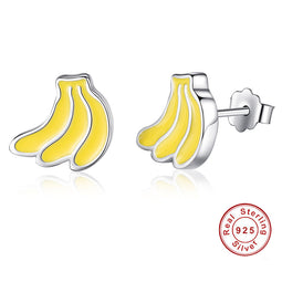 Lovely Banana 925 Sterling Silver Earrings