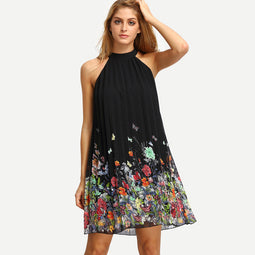 Butterflies & Flowers Summer Dress For Women