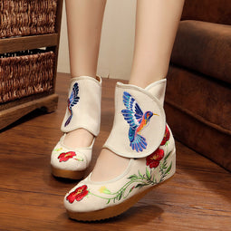 Gorgeous Bird & Flowers Shoes For Ladies