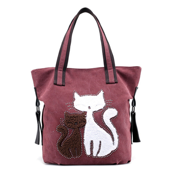 Two Cat Canvas Shoulder Bag - Wish Epic