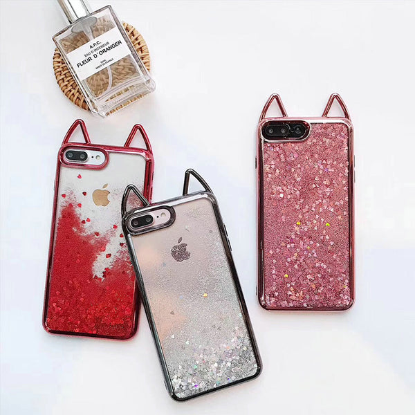 Glittery Cat Ears Cases For iPhone - Wish Epic