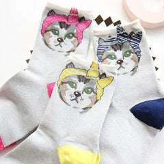 3 Pairs Pretty Cats Cotton Socks