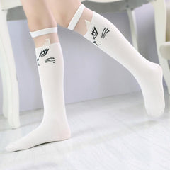 White Cat Lace Knee Socks For Girls