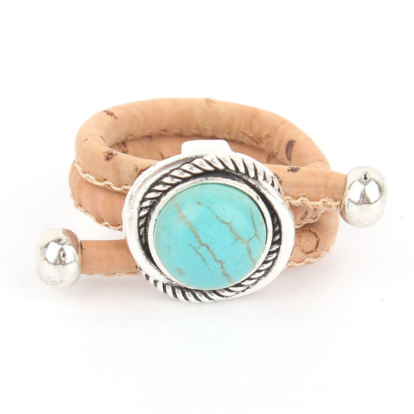 Turquoise Silver Cork Ring - Wish Epic