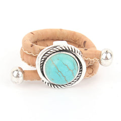 Turquoise Silver Cork Ring