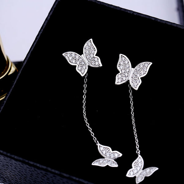 Shiny Butterflies 925 Sterling Silver Earrings - Wish Epic