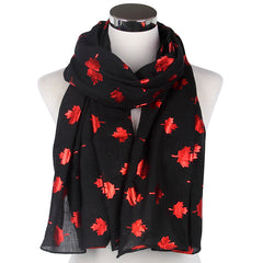 Maple Leaf Infinity Scarf For Ladies