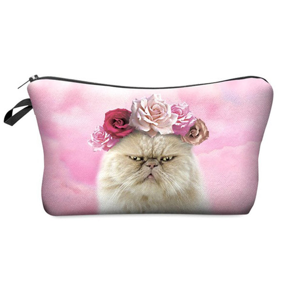 Flower Power Cat In Trouble - Makeup Case - Wish Epic