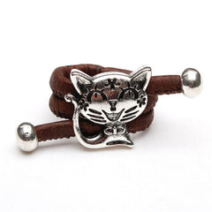 Silver Cat Cork Rings