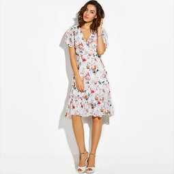 Vintage Floral Summer Dress For Women